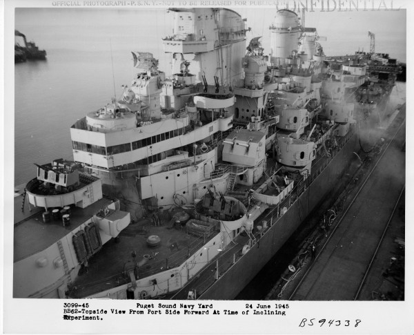 New Jersey (BB-62) was refitted in 1945 with the now standard square faced bridge. She is shown being inclined at Puget Sound on 24 June 1945
