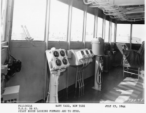 Pilot house looking forward & to starboard - BB-63