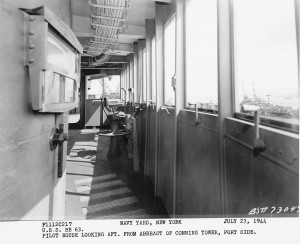 Pilot house looking aft at from abrest of conning tower, port side - BB-63