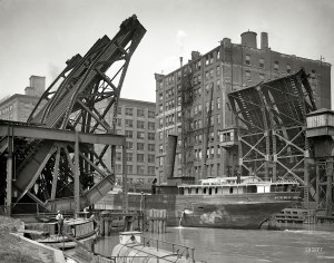 1907 Chicago , Illinois . Jackknife Bridge , Chicago River. Photo 1 by Hans Behm