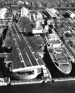 USS Enterprise (CVN-65) and SS United States in dry dock at Newport News, Virginia in November, 1964