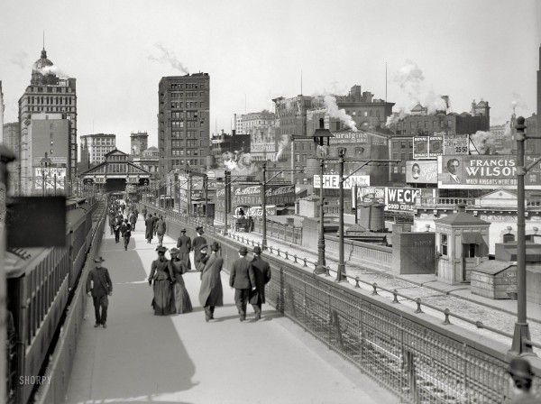 The Brooklyn Bridge Promenade and Manhattan Terminal in 1907 - s