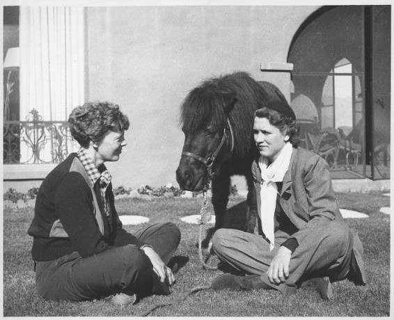 AE with Jackie Cochrane and a Shetland pony Indio Calif 1936
