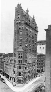 The 13-story John Wolfe Building, built in 1895 on the east side of William Street from Maiden Lane to Liberty Street