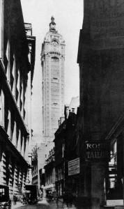Еще одно изображение отдельно стоящего Singer Building - впоследствии он всегда будет обрамлен зданием City Investing