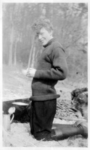 Amelia Earhart at picnic, ca. 1920