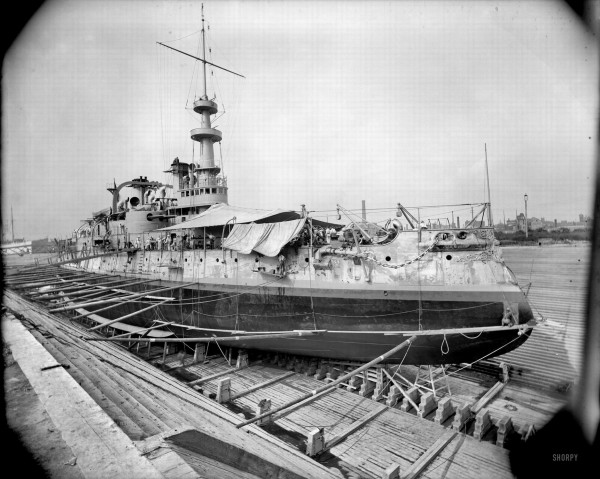 Circa 1898 U.S.S. Massachusetts in dry dock