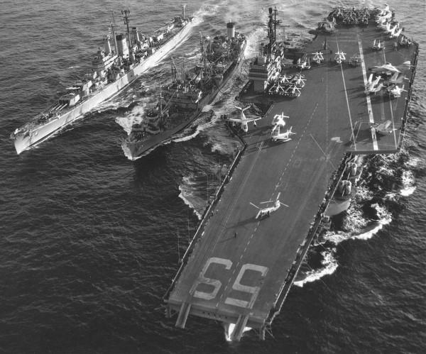 USS FORRESTAL (CV-59) - November, 1956 - with CA-134 and fleet oiler