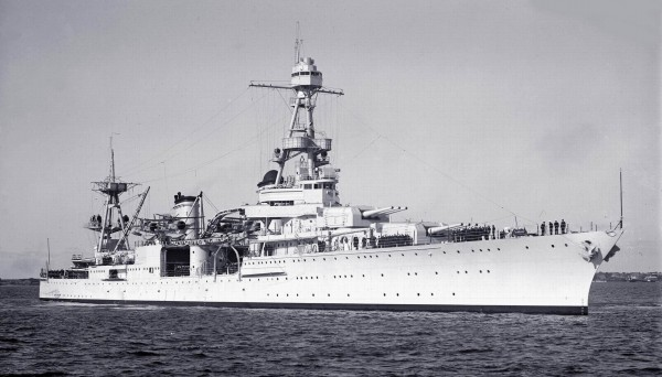 USS Louisville photo from 1938 taken at Melbourne Australia during a visit for the 150year celebrations