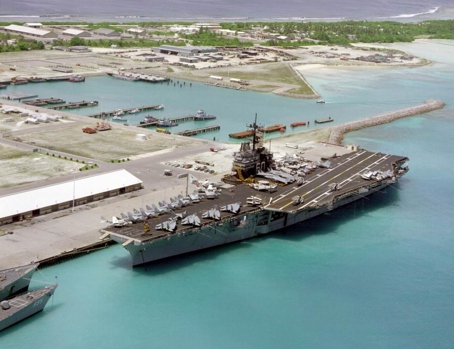 USS Saratoga at Diego Garcia - 1985