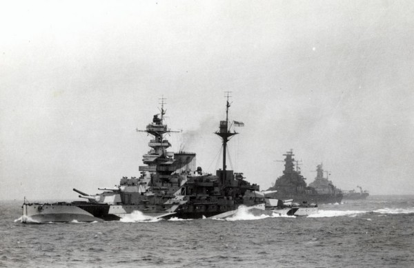 HMS Malaya leading USS South Dakota (BB-57) and USS Alabama (BB-60) in 1943