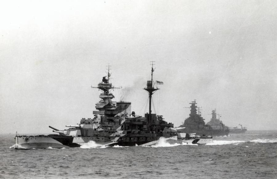 HMS Malaya leading USS South Dakota (BB-57) and USS Alabama (BB-60) in 1943