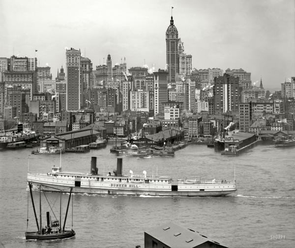 Manhattan circa 1908. New York skyline