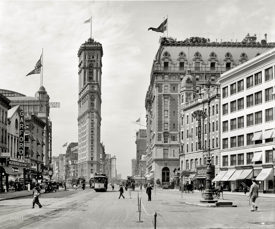 New York circa 1908. Times Square. The old New York Times building, now encased in billboards, Hotel Astor and various theaters seen from Broadway