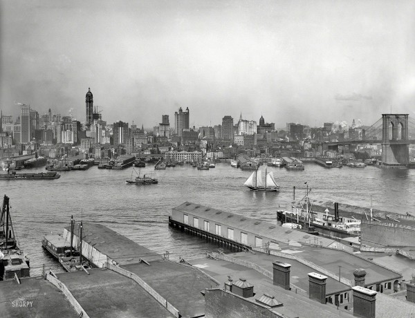 Manhattan circa 1907. The heart of New York from Brooklyn