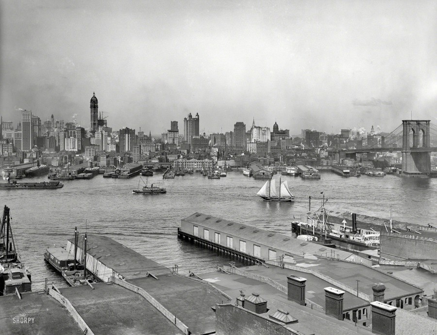 Manhattan circa 1907. The heart of New York from Brooklyn