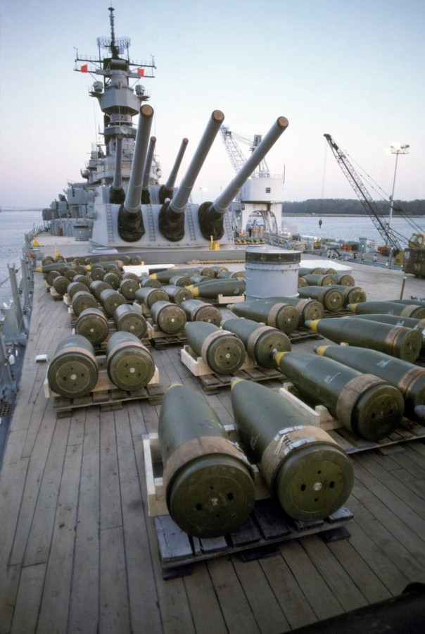 16-inch projectiles prior to being offloaded from the Iowa (BB-61). Ship being prepared for a 4month post shakedown availability Norfolk Naval Shipyard, 25 Mar 1985 - by PH1 Jeff Hilton