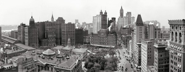 1 Manhattan circa 1908. Broadway, City Hall Park, the City Hall Post Office, the Singer, Park Row, Home Life Insurance and City Investing