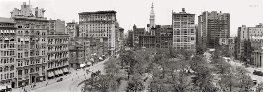 Нью-Йорк, 1910 год, Юнион-Сквер. Вдали виден Metropolitan Life Tower