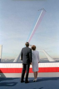 President Reagan and Nancy Reagan aboard the USS Iowa during the International Naval Review in New York Harbor. 7-4-86