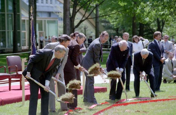 Attending ground-breaking ceremonies for addition to the CIA Central Intelligence Agency headquarters complex in Langley, Virginia with George Bush and William Casey. 5-24-84.