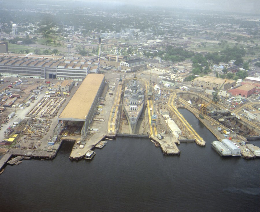 USS Iowa (BB-61) in Dry dock Number 4 at Norfolk Naval Shipyard-Portsmouth - May 2 1985