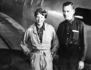 Amelia Earhart, pilot, is shown here with her navigator, Fred Noonan, in a hanger in Brazil, in June of 1937