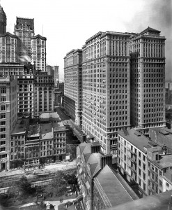 New York, 1908. Hudson Terminal Buildings at 30-50 Church Street showing cemetery and construction of elevated railway