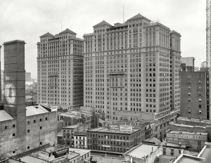 New York circa 1909. Hudson Terminal Buildings. At the site of the future World Trade Center