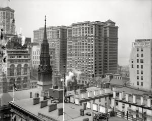 Lower Manhattan circa 1910. Hudson Terminal buildings