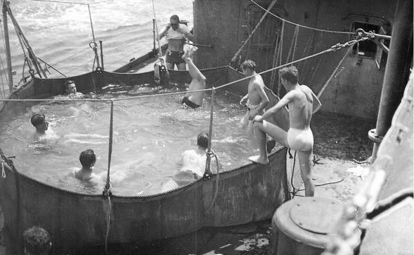 Bathing pool on the HMS Repulse - off the African coast - Nov 1941