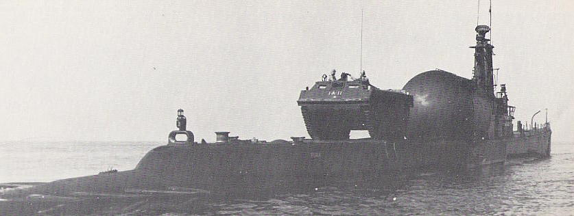 USS PERCH (SSP-313) with amphibious LVT