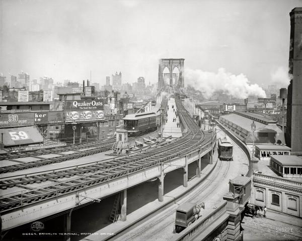New York circa 1903. Brooklyn Terminal at Brooklyn Bridge - 1