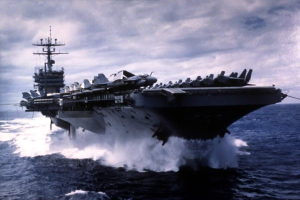 USS Carl Vinson (CV-70) at flank speed on her way home from the Gulf of Alaska - photo courtesy J. David Rogers