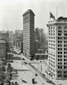 August 1909. The Flat Iron Building, New York