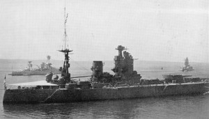 HMS Nelson at the Coronation Naval Review with the  New York and the French Dunkerque in the background