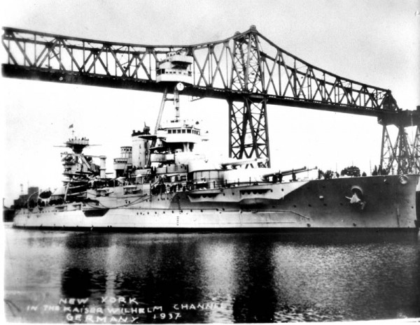 New York (BB-34) in the Kaiser Wilhelm Canal, 1937