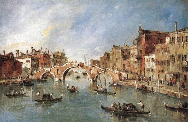 Франческо Гварди 'Трёхарочный мост в Каннареджо, 1765 г.