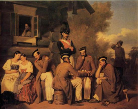 Сцена в лагере под Красным Селом. Худ. А. Гебенс. 1849