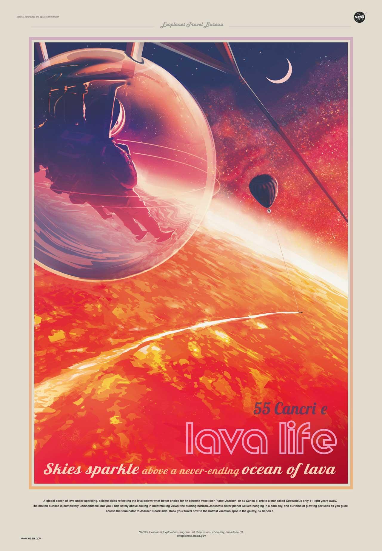 1. Небеса сверкают над бесконечным океаном лавы. Планета 55 Рака e. Источник https://exoplanets.nasa.gov/resources/2207/55-cancri-e-skies-sparkle-above-a-never-ending-ocean-of-lava/