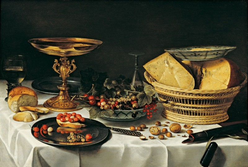1. Питер Клас. Натюрморт с корзинкой сыра, около 1624. Источник http://vechnost7.blogspot.com/2015/01/pieter-claesz-1596-1661.html