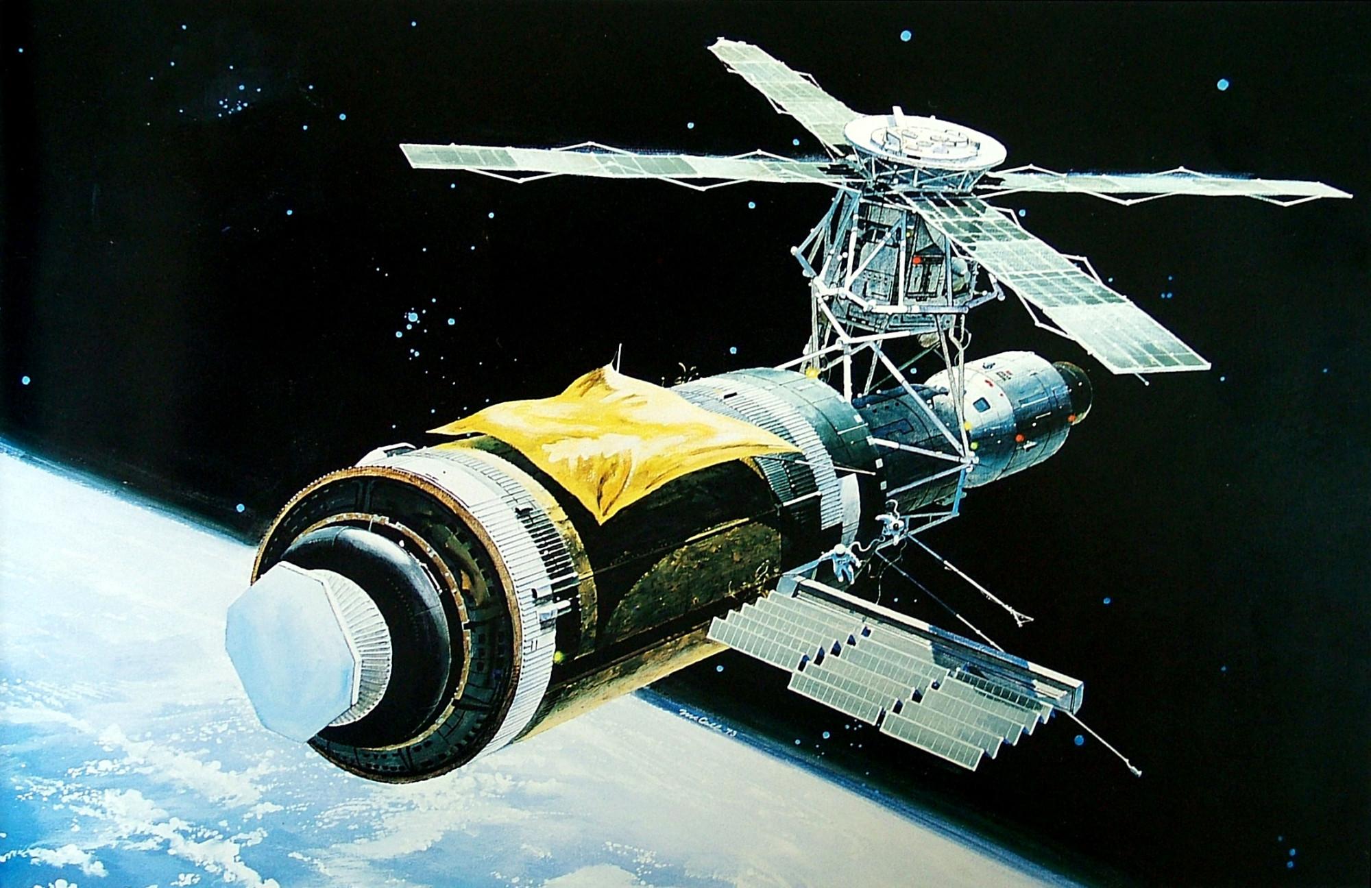"""2. """"Скайлэб"""" с раскрытыми солнечными панелями, 1972"""