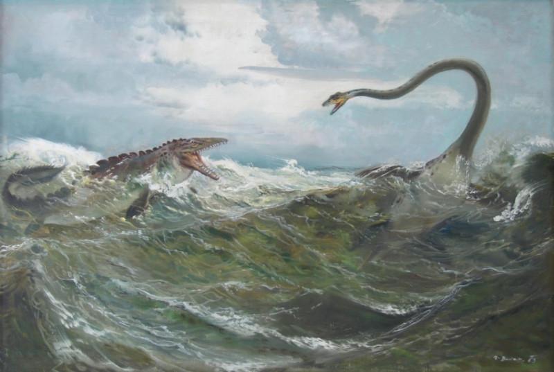 2. Зденек Буриан. Плезиозавр и лиоплевродон. Источник http://burianzdenek.cz/Burianolog.html