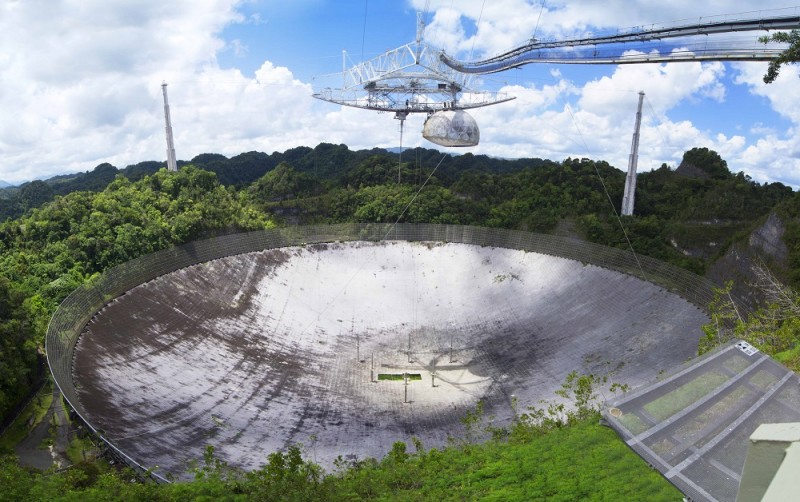 Один из крупнейших радиотелескопов современности - 300 - метровый радиотелескоп Аресибо, Пуэрто Рико. С параболическим зеркалом, расположенном в кратере потухшего вулкана, этот телескоп широко использовался и используется в программах поиска сигналов внеземных цивилизаций и попытках установления контактов с ними. Источник https://physicsworld.com/a/arecibo-observatory-saved-from-closure/