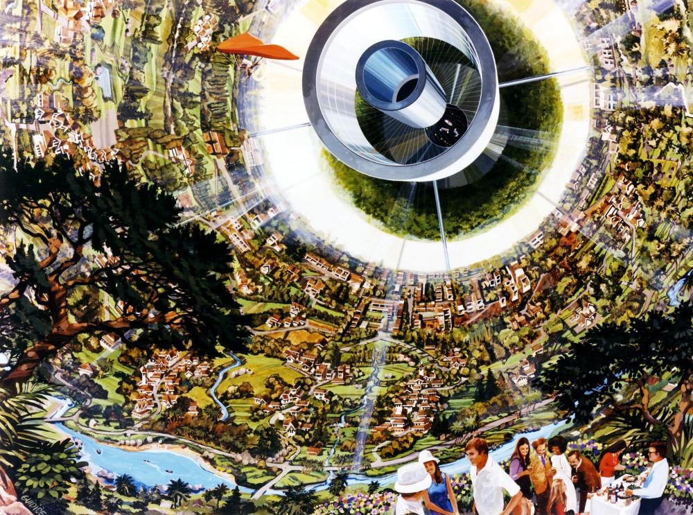"""1. Интерьер космического поселения типа """"цилиндра О Нила"""" с пилотируемым летательным аппаратом, типа дельтоплана"""