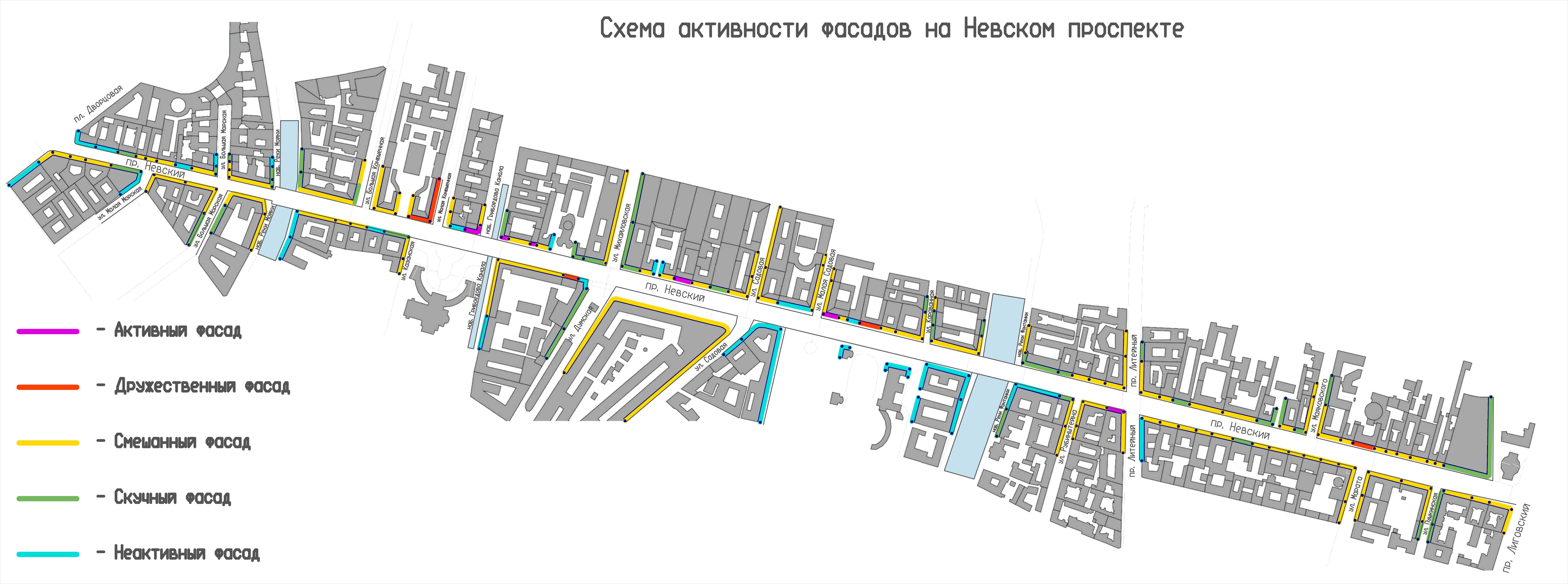 карта активности фасадов Невского