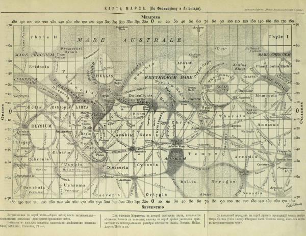 Карта Марса по Фламмариону и Антониади