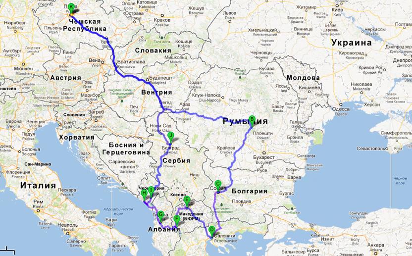 Карта Балкан