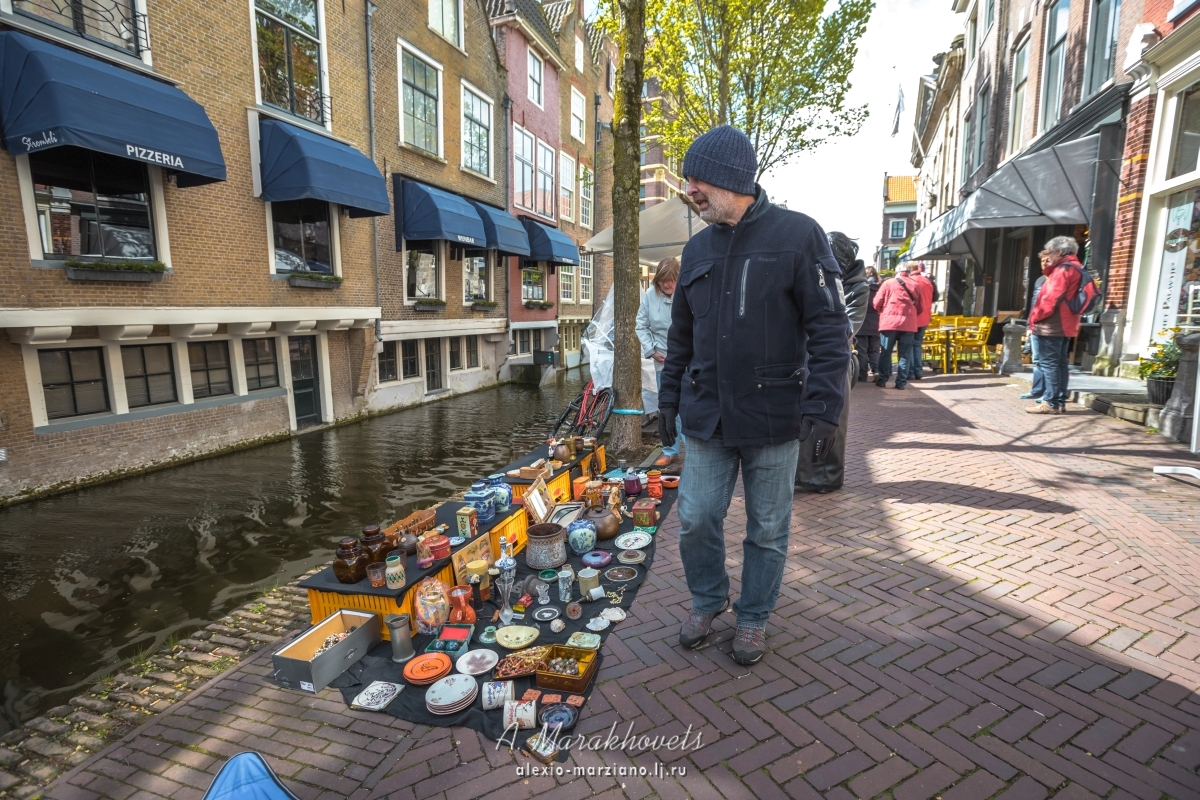 делфт, голландия, нидерланды, барахолка, блошиный, рынок