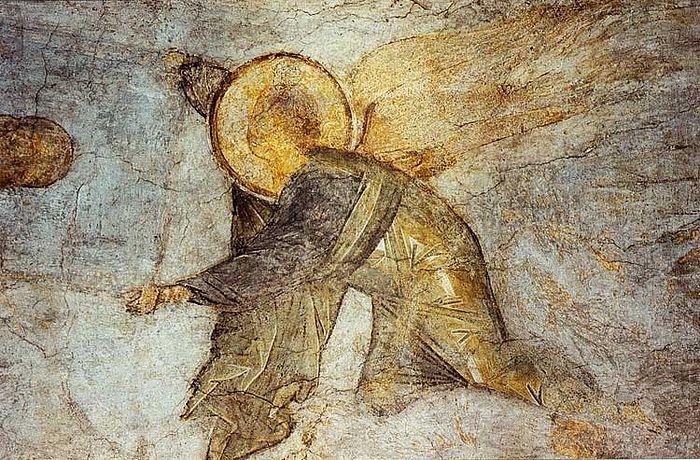 Роспись Успенского собора. А. Рублев. Ангел, свивающий небеса в свиток